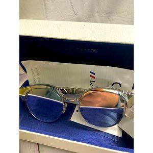 NWT and Box Le Specs Silver Sunglasses